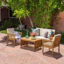 Noble House Carolina Brown 4-piece Wood Patio Conversation