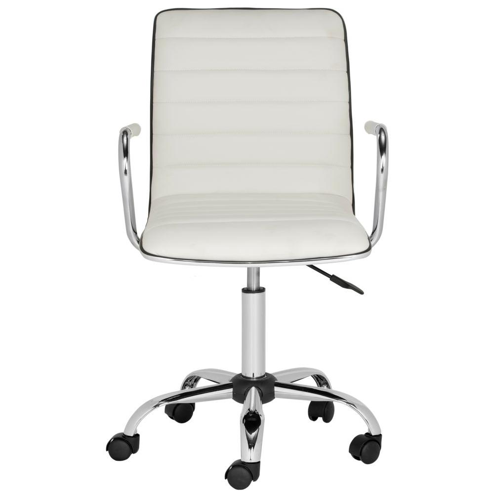 contemporary office chairs oxo seedling high chair cover safavieh jonika white leather fox7520a the home depot