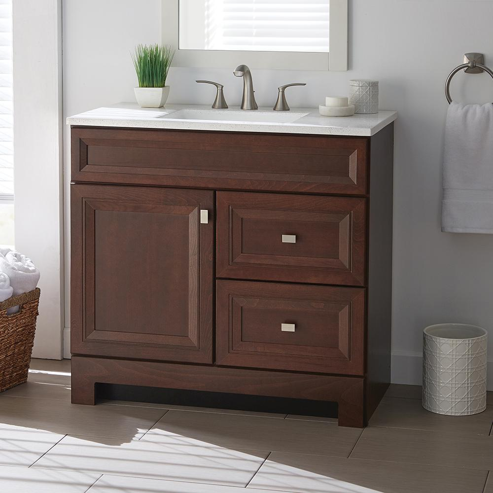 Vanities Bathroom Home Decorators Collection Sedgewood 36 1 2 In W Bath Vanity In Dark Cognac With Solid Surface Technology Vanity Top In Arctic With White Sink