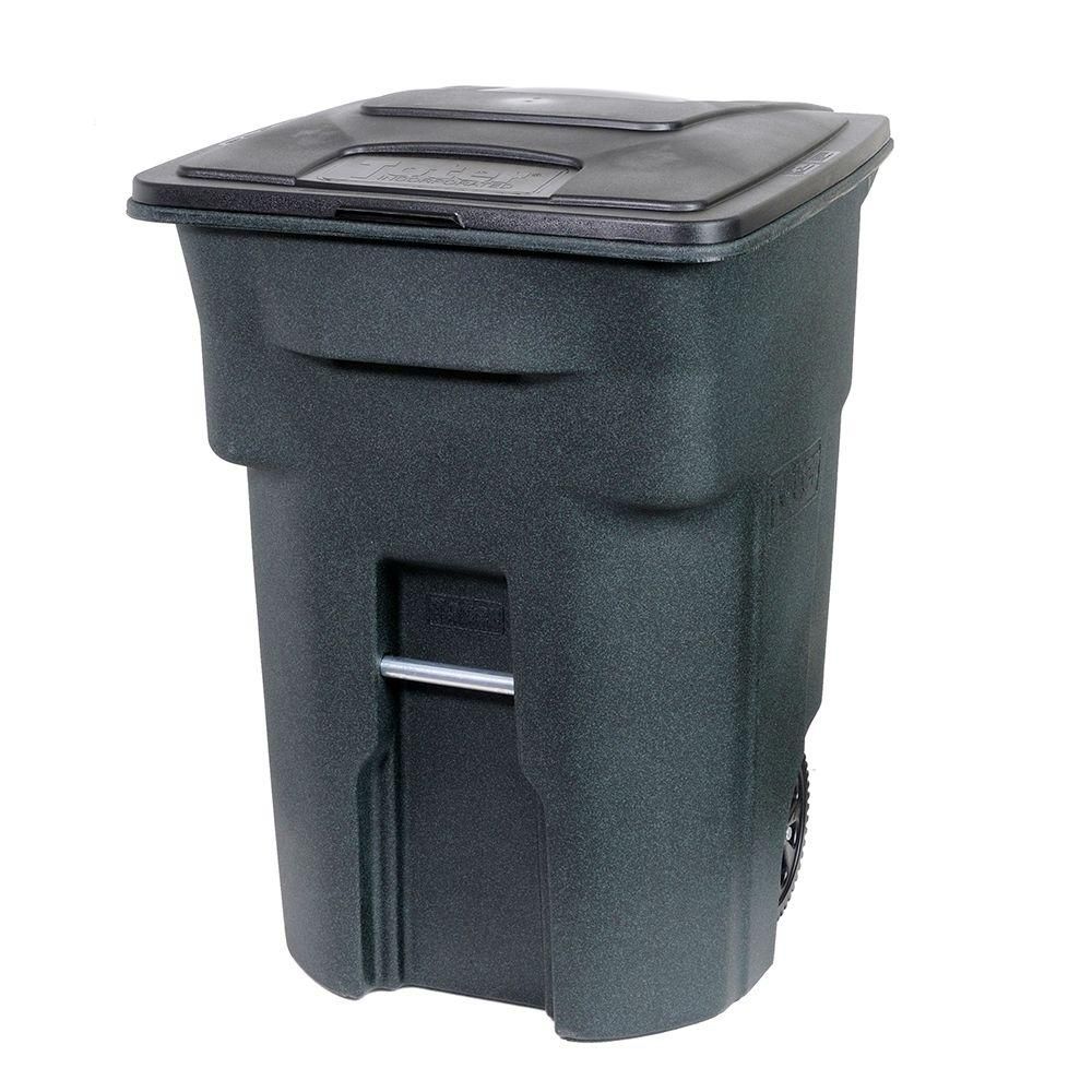 30 gallon kitchen trash can designer kitchens toter 96 gal. green with wheels and attached lid ...