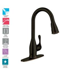 Moen Pull Down Kitchen Faucet Shaker Style Cabinet Hardware Kaden Single Handle Sprayer With Reflex And Power Clean