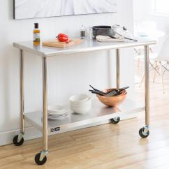 Stainless Steel Kitchen Table Best Cabinet Ideas Ecostorage 48 In Nsf With Wheels Tls 0201c