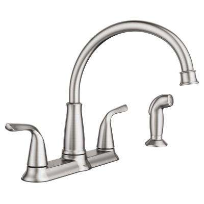 4 hole kitchen faucets tuscan style 9 5 the home depot brecklyn 2 handle standard faucet with side sprayer in spot resist stainless