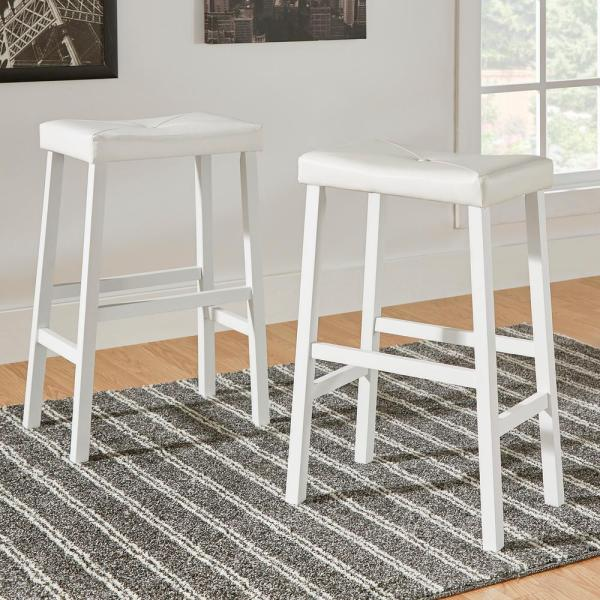 Home Decorators Collection 29 In. White Cushioned Bar Stool Set Of 2 -405310w-29 3a 2pc