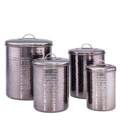 Canisters Kitchen Black Metal Cabinets Jars The Home Depot 4 Piece