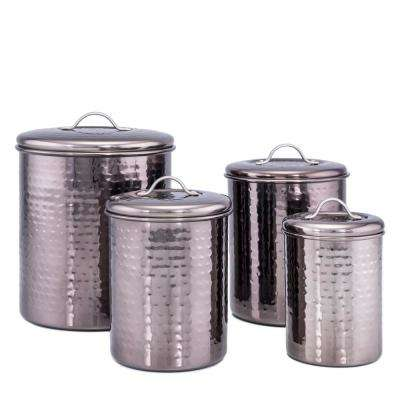 kitchen canister christmas decorating ideas for the 4 piece black pearl hammered set with fresh seal covers
