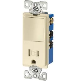 eaton 15 amp 3 wire tr receptacle 120 volt decorator combination single pole [ 1000 x 1000 Pixel ]