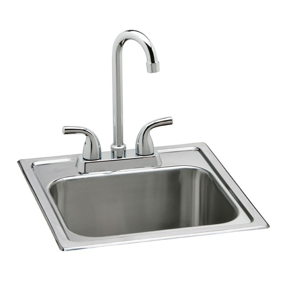 elkay kitchen sinks yellow and red curtains all in one drop stainless steel 15 2 hole single bowl bar sink