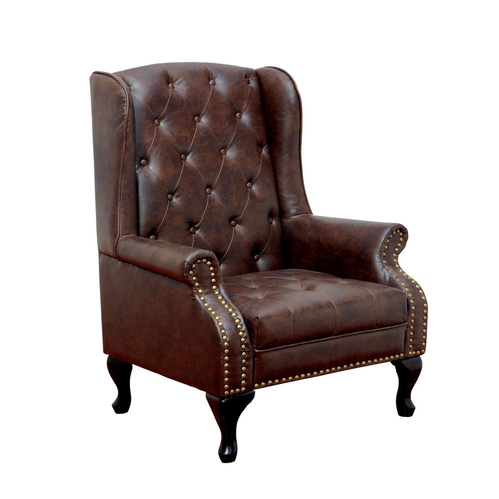 brown accent chair with ottoman reclining office leg rest vaugh traditional style rustic cm ac6801br the home depot