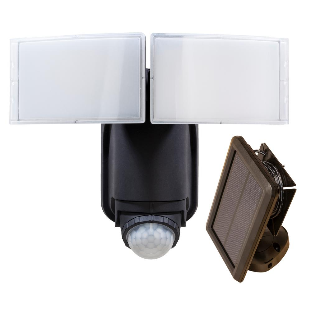 medium resolution of 180 degree black solar powered motion led security light with battery backup