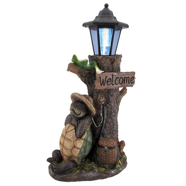 Turtle Won Race Solar Led Garden Statue