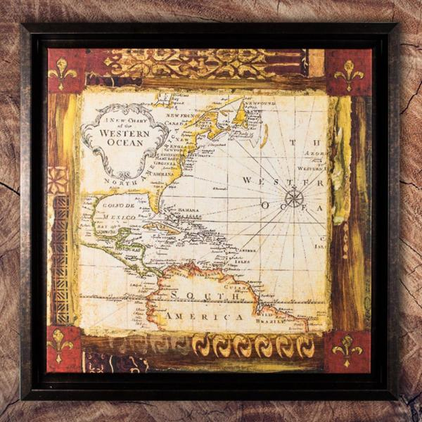 Crystal Art World Map Framed Painting Print Canvas-99007web - Home Depot