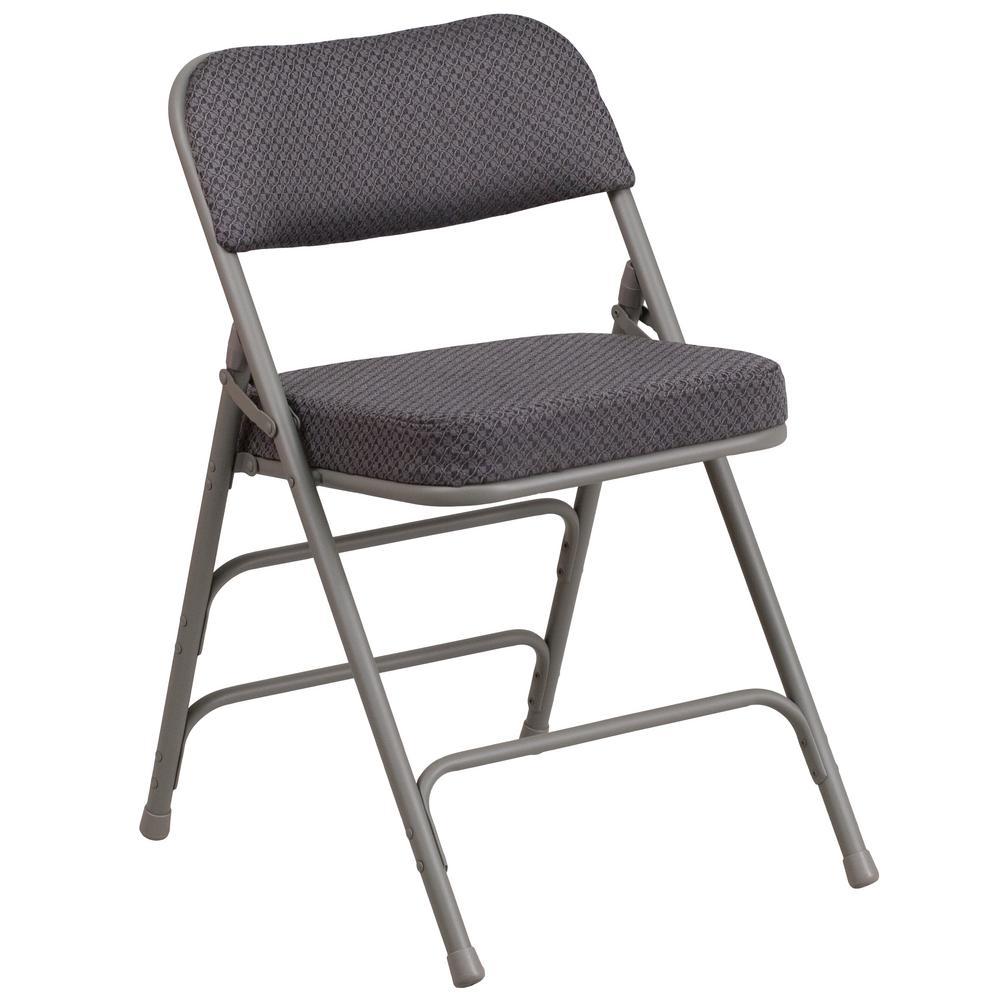 folding chair fabric wheelchair measurements flash furniture hercules series premium curved triple braced quad hinged gray upholstered metal