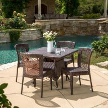 Noble House Multi-brown 5-piece Wicker Square Outdoor