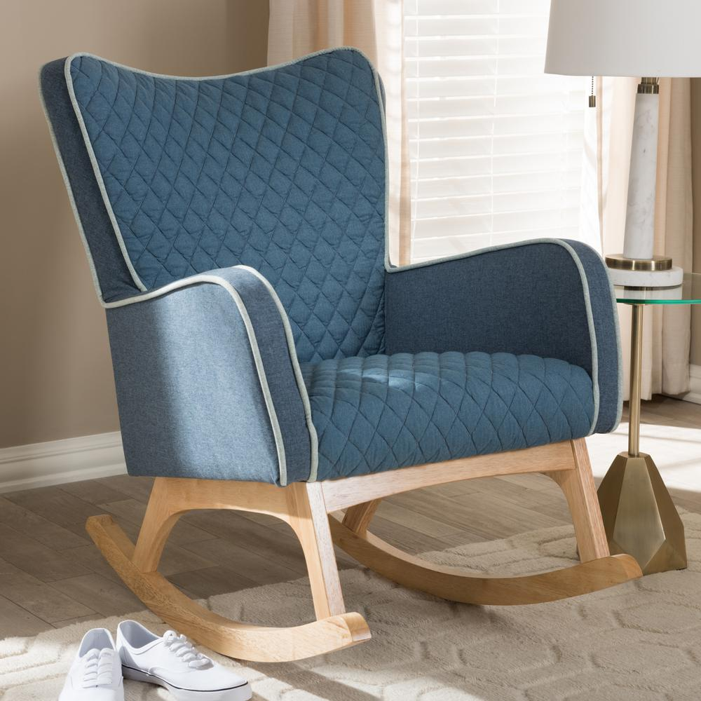 Rocking Accent Chairs Baxton Studio Zoelle Blue Fabric Rocking Chair 143 7927 Hd The