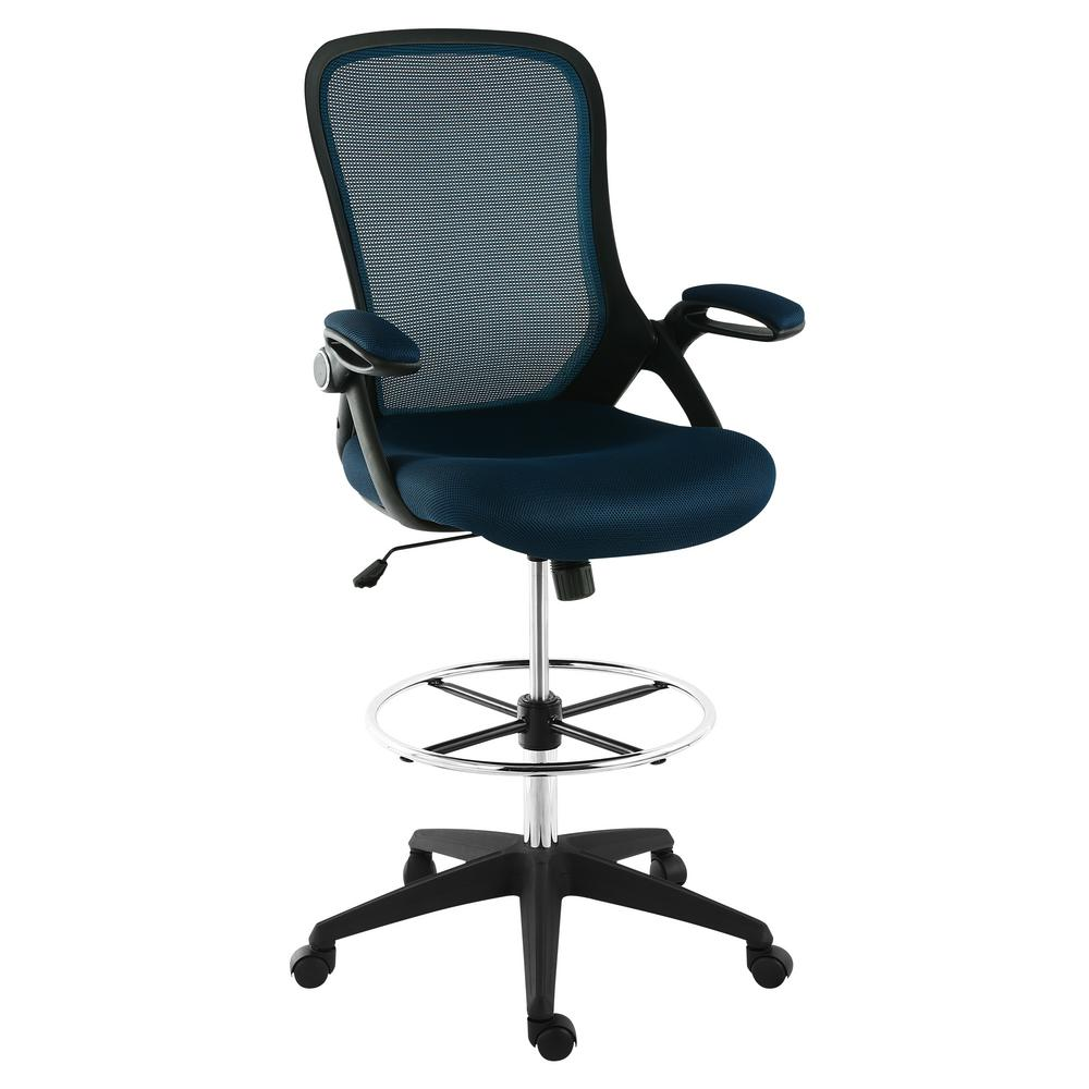mesh drafting chair portable floor india poly and bark sadia blue hd 370 blu the home depot