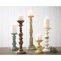 IMAX Trans Cain Distressed Wood Candle Holders (Set of 5 ...