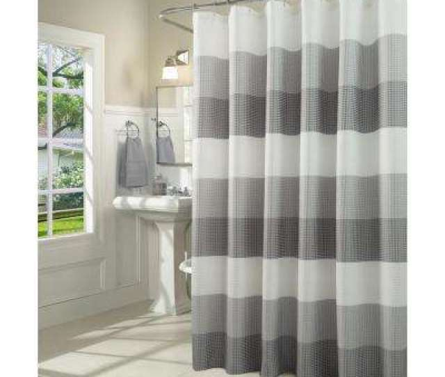 Ombre  In Gray Waffle Weave Fabric Shower Curtain
