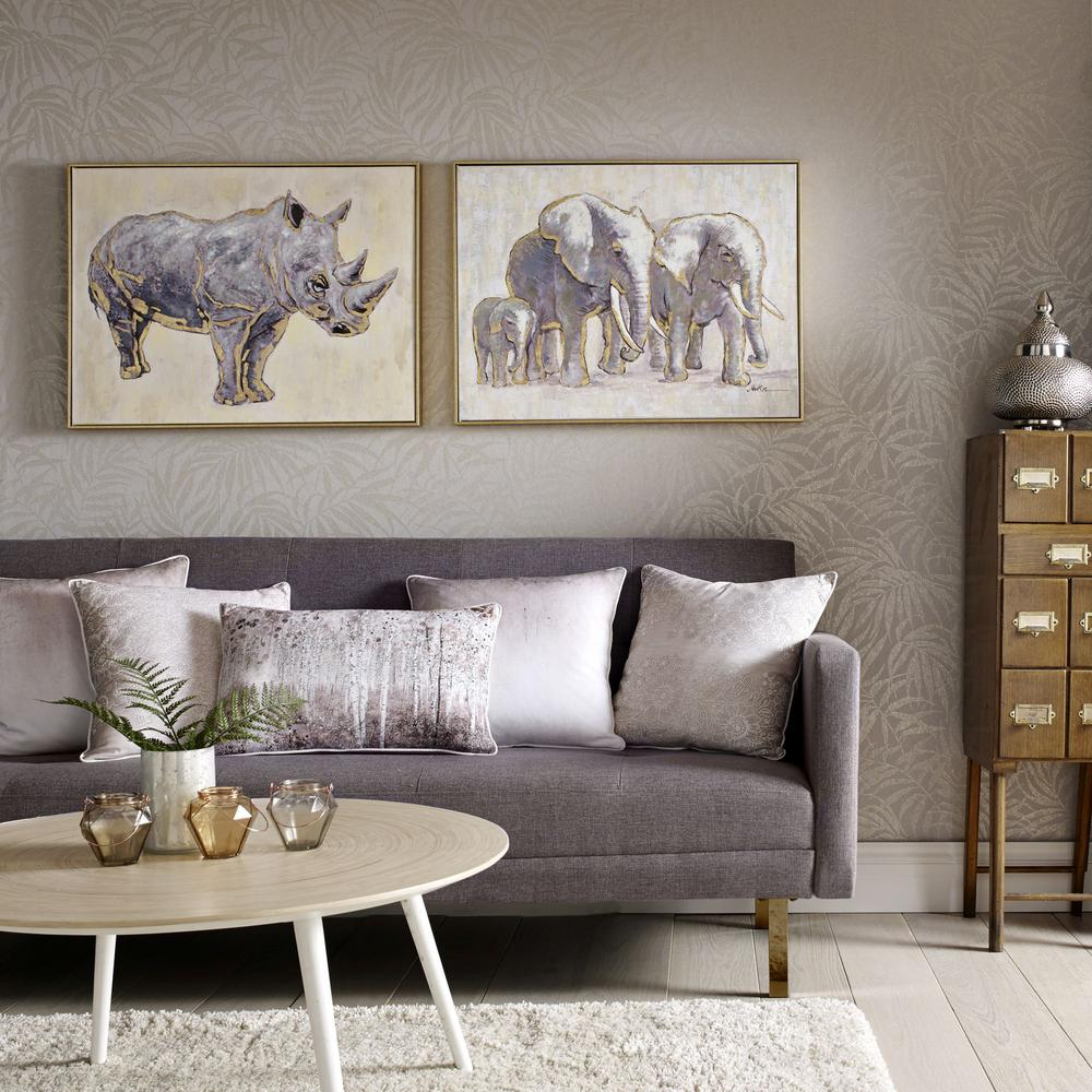 framed wall art for living room pottery barn pictures of rooms graham brown 24 in x 31 metallic elephant family print canvas 102415 the home depot