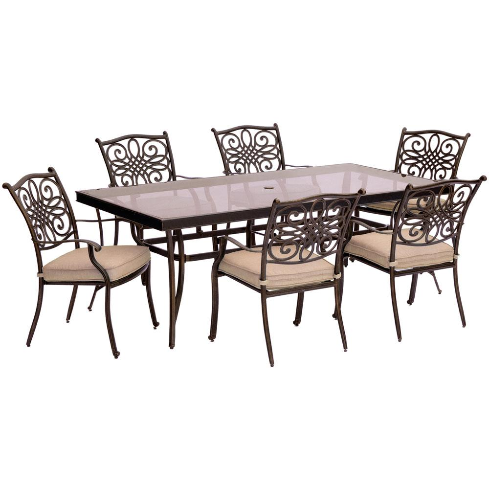 best outdoor dining chairs pottery barn kids my first chair hanover traditions 7 piece aluminum set with rectangular glass top table natural oat cushions