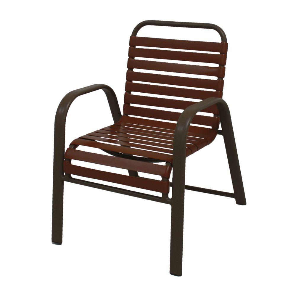 unbranded marco island brownstone commercial grade aluminum patio dining chair with saddle vinyl straps 2 pack 3200 s s the home depot