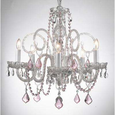 Empress 5 Light Crystal Chandelier With Pink Pendant