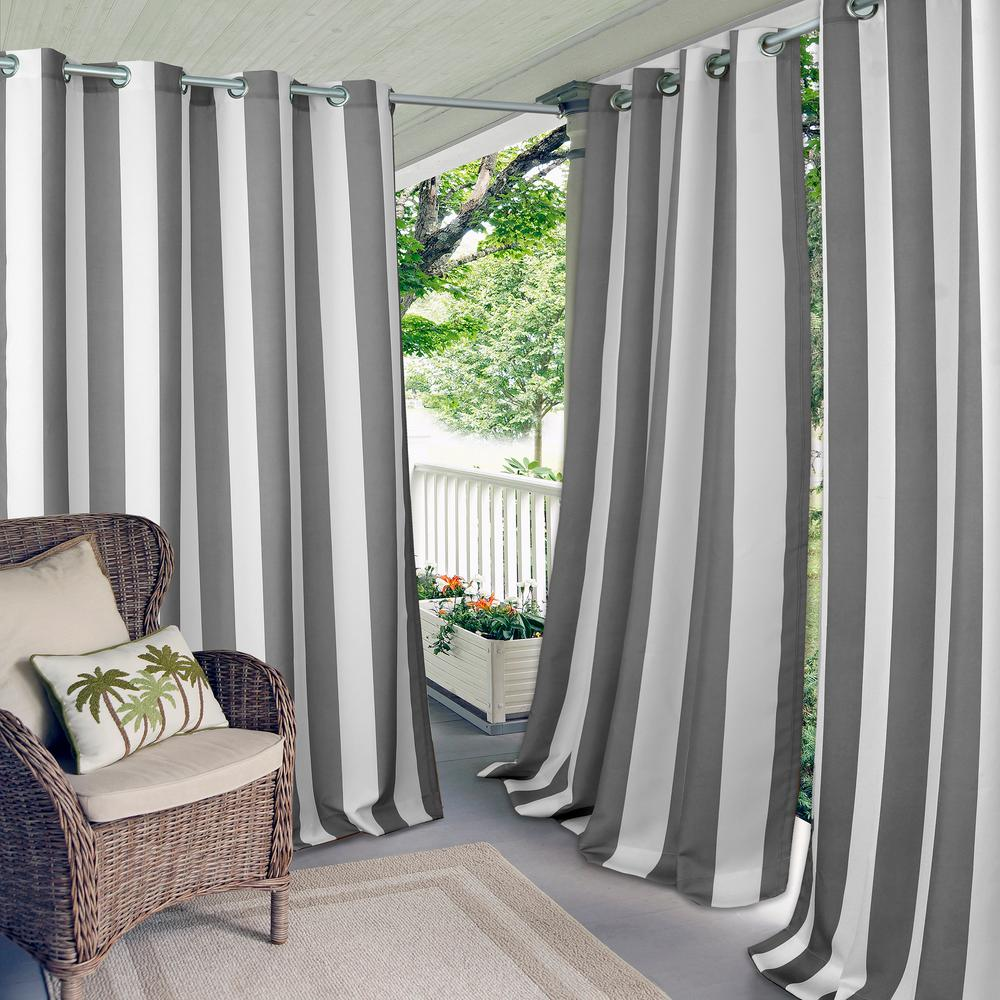 Elrene Aiden Stripe 50 in W x 95 in L IndoorOutdoor Grommet Window Curtain Gray22045GRY