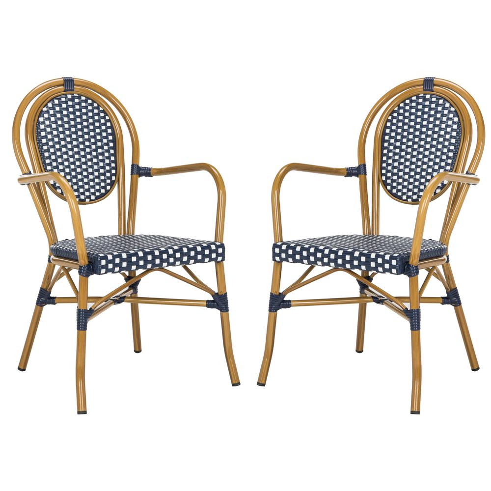 Outdoor French Bistro Chairs Safavieh Rosen Stacking Aluminum Outdoor Dining Chair In Navy And White Set Of 2