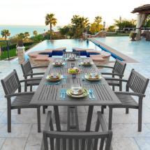 Vifah Renaissance 7-piece Wood Rectangular Outdoor Dining