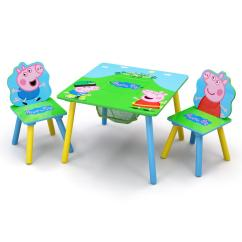 Baby Table And Chairs Ikea Kitchen Kids Tables Playroom The Home Depot Peppa Pig 3 Piece Multi Color Chair Set With Storage