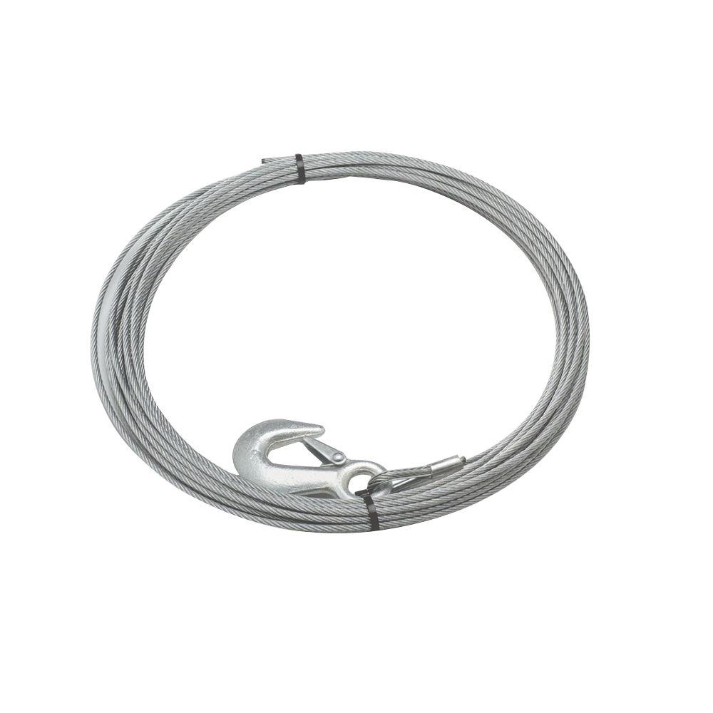 medium resolution of 90 ft x 3 8 in galvanized steel wire rope with hook for husky 10 winches