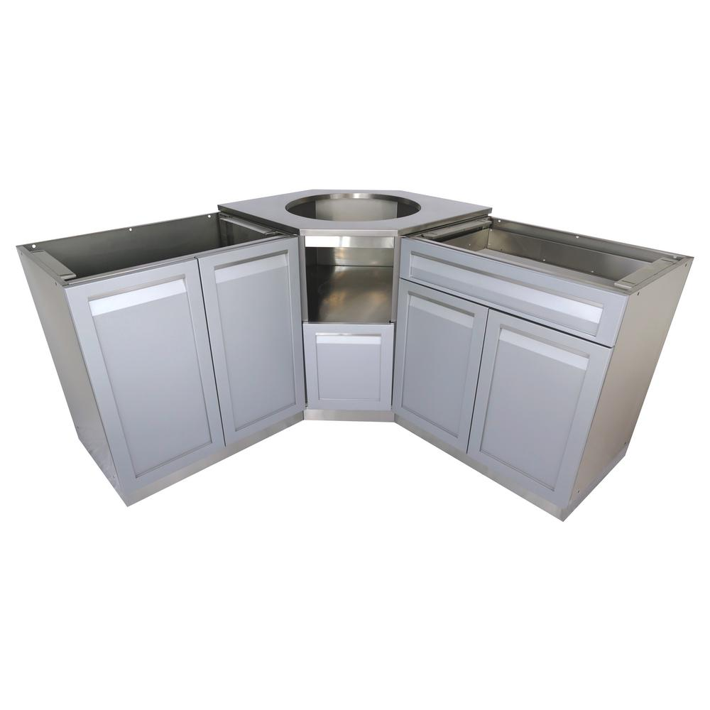 kitchen cabinets set kingston brass faucet 4 life outdoor 3 piece 101x36x37 in stainless steel kamado corner cabinet with gray doors and drawer