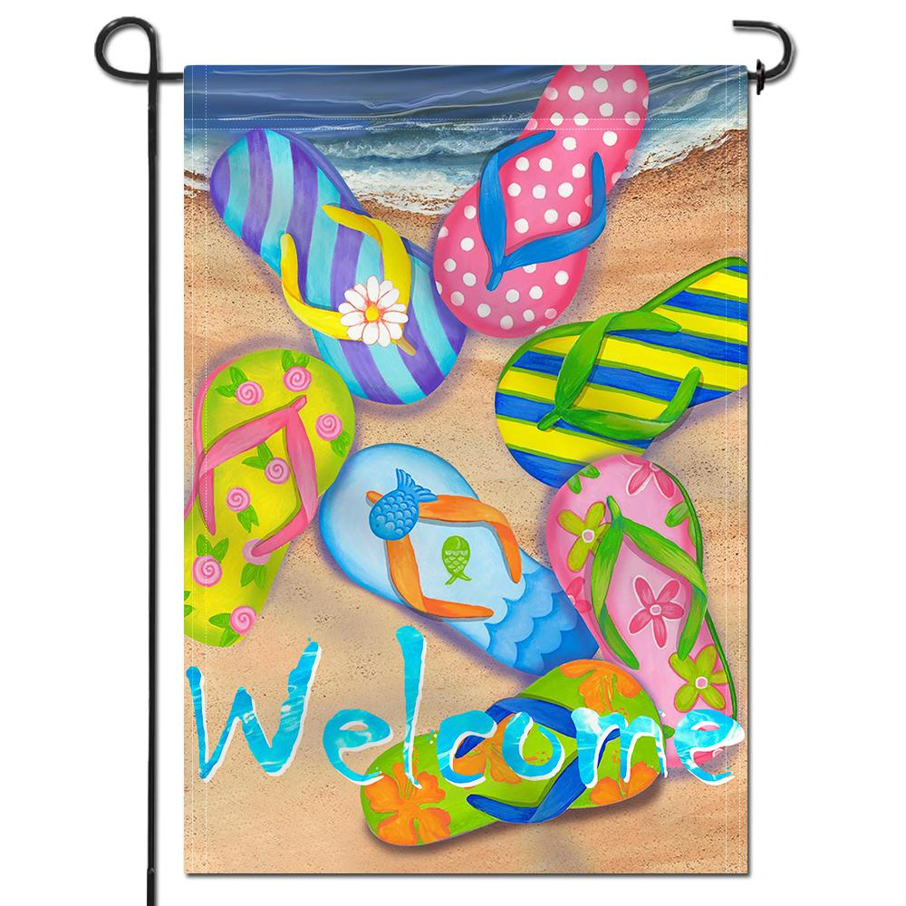 Anley 18 In X 12 5 In Double Sided Premium Flip Flops On Summer Beach Decorative Garden Flags Double Stitched A Flag Garden Beachslipper The Home Depot