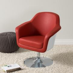Accent Chairs Under 150 Leather Club Chair Modern Corliving Mod Red And White Bonded Dln