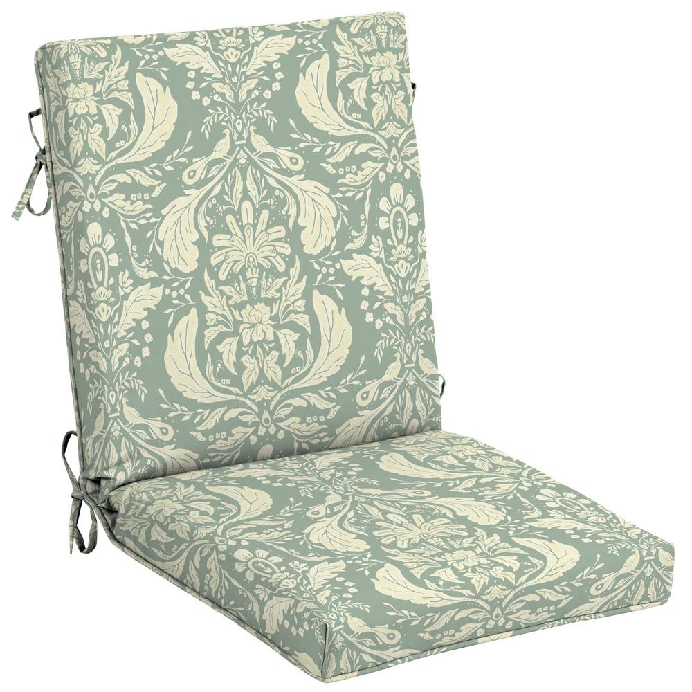 Damask Dining Chair Arden Selections Artisans 44 In X 21 In Pietro Damask Outdoor High Back Dining Chair Cushion