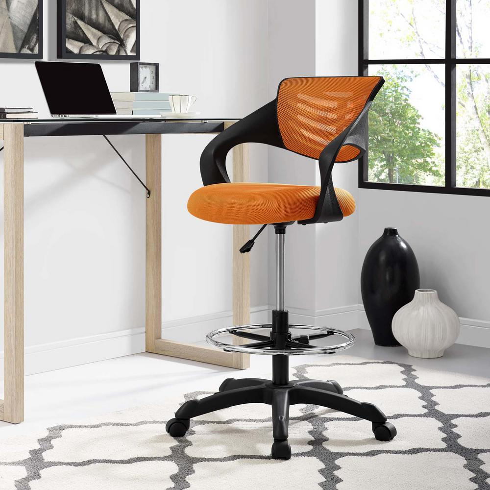 mesh drafting chair gerrit rietveld modway thrive in orange eei 3040 ora the home