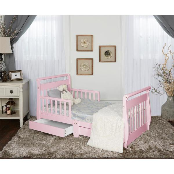 Dream Pink Toddler Adjustable Sleigh Bed With Storage Drawer-643- - Home Depot