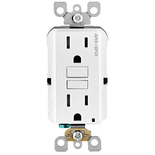 small resolution of leviton 15 amp 125 volt duplex self test smartlockpro tamper resistant afci gfci dual function outlet white r92 agtr1 0kw the home depot