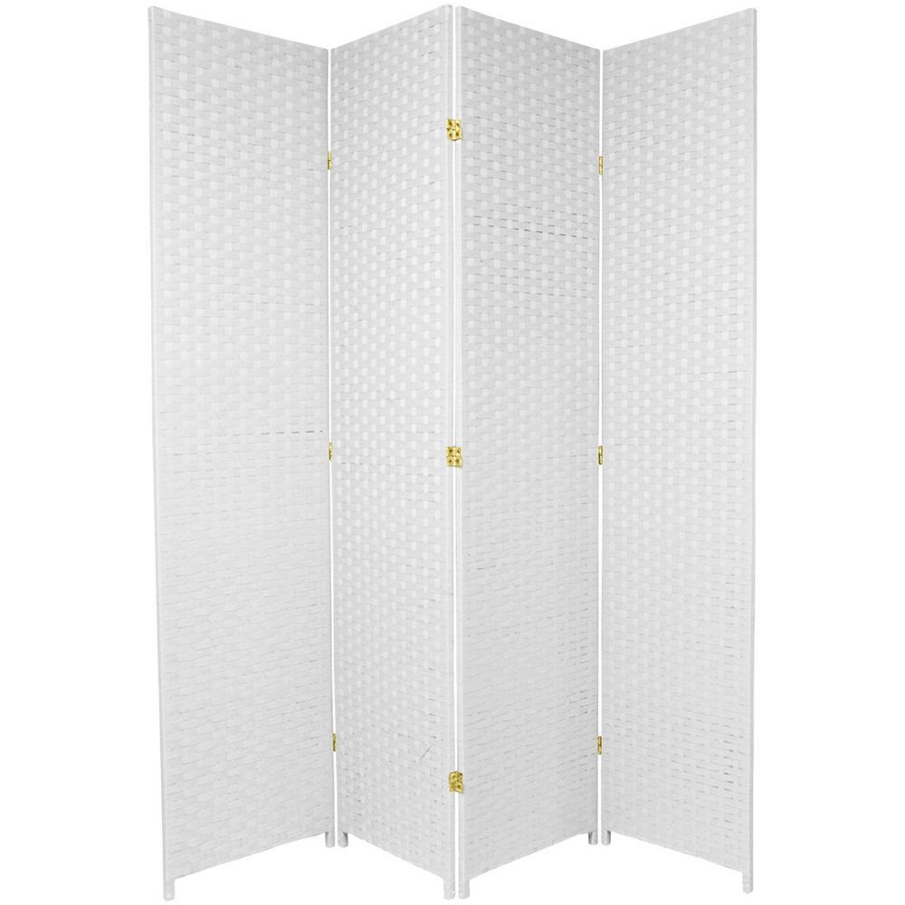 oriental furniture 7 ft white 4 panel room divider ss7fiber wht 4p the home depot