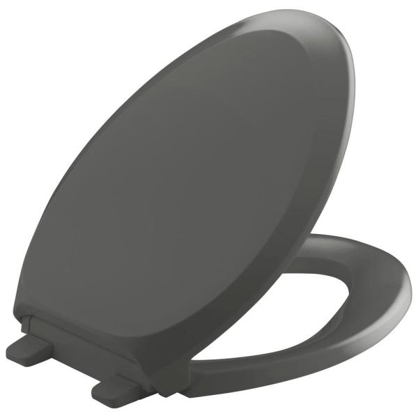 Kohler French Curve Quiet-close Elongated Toilet Seat With Grip-tight Bumpers In Thunder Gery