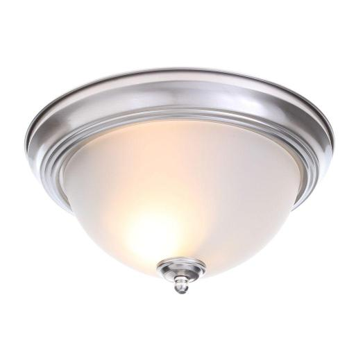 small resolution of 2 light brushed nickel flush mount with frosted glass shade 2 pack
