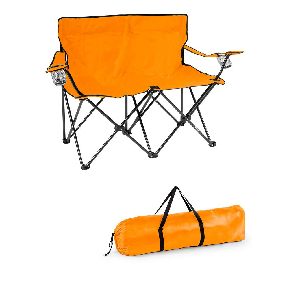 Double Camping Chair Trademark Innovations Orange 31 5 In H Loveseat Style Steel Frame Double Camp Chair