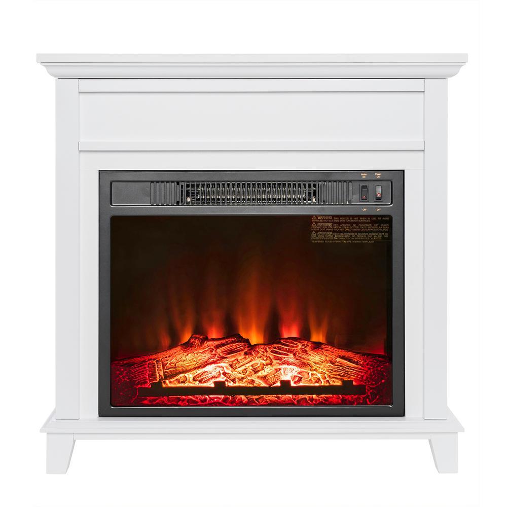 27 Freestanding White Wood Mantel Electric Fireplace Heater LED Flame w Log 810764029311  eBay