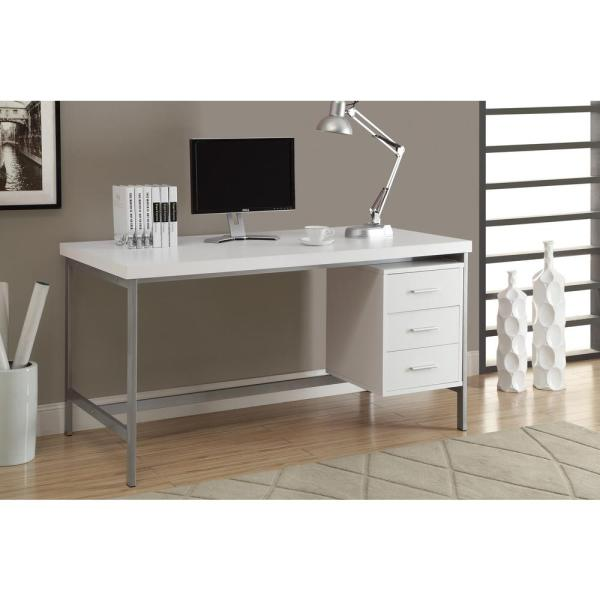 Monarch Specialties White Desk- 7046 - Home Depot