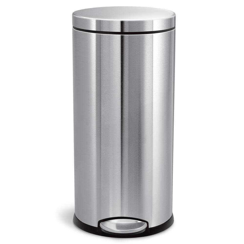 stainless steel kitchen trash can 3 compartment sink simplehuman 30 liter fingerprint proof brushed round step on