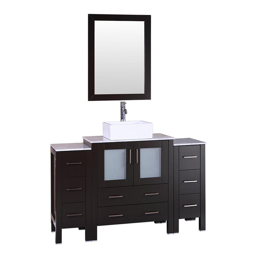 Bosconi 54 in W Single Bath Vanity with Carrara Marble
