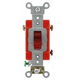 leviton 20 amp industrial grade heavy duty single pole pilot light toggle switch red [ 1000 x 1000 Pixel ]