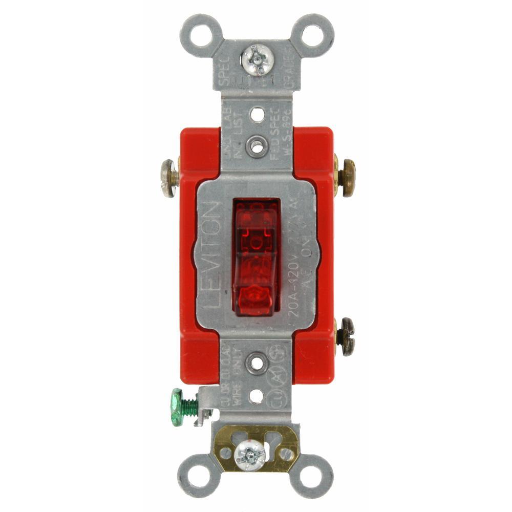 medium resolution of leviton 20 amp industrial grade heavy duty single pole pilot light toggle switch red