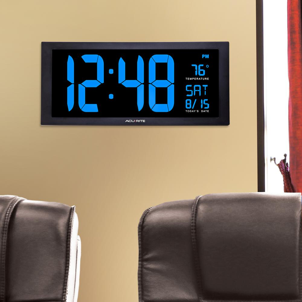 digital kitchen thermometer salamander acurite 18 in. large led clock with indoor temperature in ...