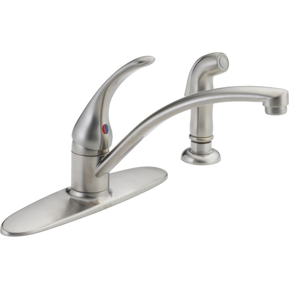 delta single handle kitchen faucet coastal table foundations standard with side sprayer in stainless